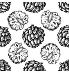 Seamless pattern with black and white sugar-apple vector