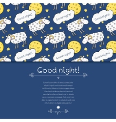 Seamless pattern with images cute sheep on vector image