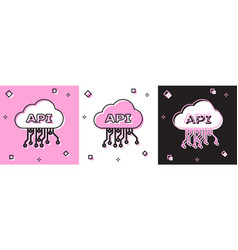 Set cloud api interface icon isolated on pink and vector