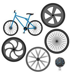 Set of different wheels bike and speedometer vector