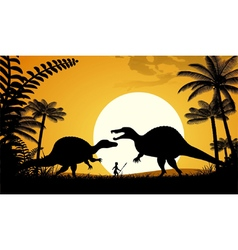Silhouettes of dinosaurs vector
