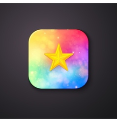 Square Buttons with Abstract Colors and a Star vector