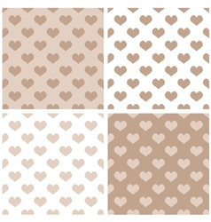 tile hearts brown and white background set vector image