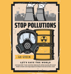 Toxic waste plant chimneys mask stop pollution vector