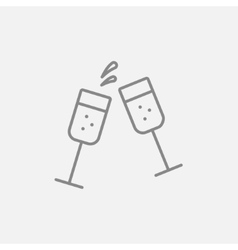 Two glasses of champaign line icon vector