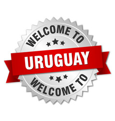 Uruguay 3d silver badge with red ribbon vector