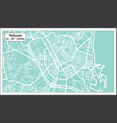 Valencia spain city map in retro style outline map vector