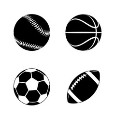 various stylized black sports balls silhouettes vector image