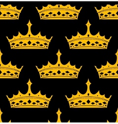 vintage royal seamless pattern with golden crowns vector image