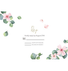 Watercolor hand painted wedding rsvp card vector