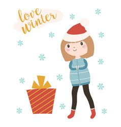 winter card with girl and gift vector image
