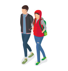 woman and man students in modern apparels vector image