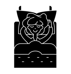 woman in bed sleeping icon vector image