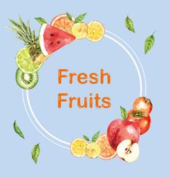 Wreath design with various fruits creative vector