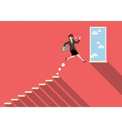 Business woman jumping to success vector