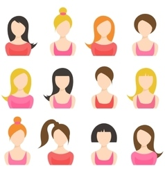 set of woman icons isolated on white vector image