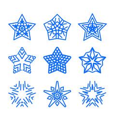 star logo template set blue geometric vector image vector image