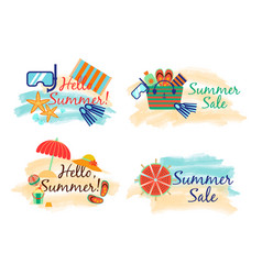 summer sale labels with sand and sea in watercolor vector image