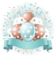 Blue birthday balloons design vector