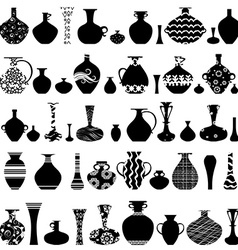 collection of handmade vases with ethnic ornament vector image