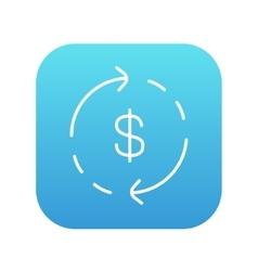 Dollar symbol with arrows line icon vector image