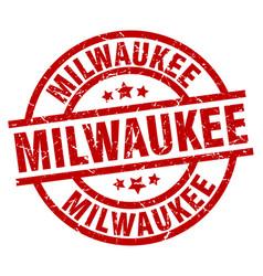milwaukee red round grunge stamp vector image vector image