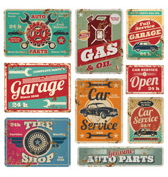Vintage car service and gas station metal vector