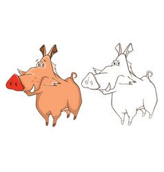 Wild boar cartoon character vector