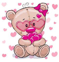 bear with hearts vector image