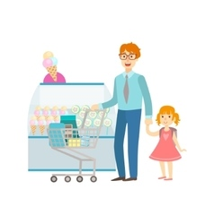 Father and daughter shopping for sweets shopping vector