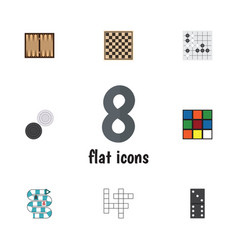flat icon games set of dice gomoku multiplayer vector image vector image