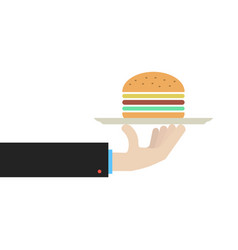 hand holding dish with hamburger vector image vector image