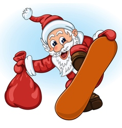 Santa Claus with gift bag on the snowboard vector image vector image