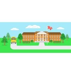 School building and yard flat landscape vector image