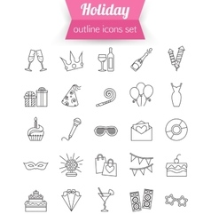 Set of outline holiday and party icons Champagne vector image vector image