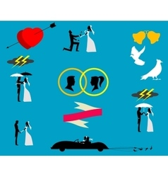 Wedding couples in silhouette vector image vector image