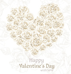 White Roses Valentines card vector image vector image