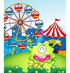A carnival at the hilltop at the back of the green vector image vector image