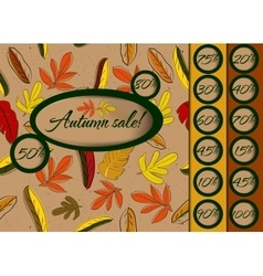 Autumn sale poster with seamless texture vector image vector image