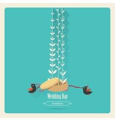 Bird wedding invitation vector image