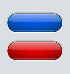 blue and red oval buttons on gray plastic vector image