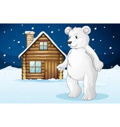 cabin and polar bear vector image