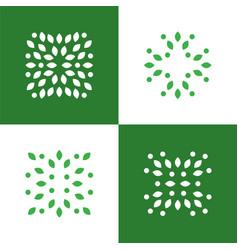 green plant abstract logo symbol icons set vector image vector image