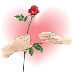 hands rose vector image vector image