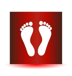 Two white human footprints isolated on red vector image