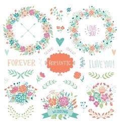 Wedding vintage elements collection vector image vector image