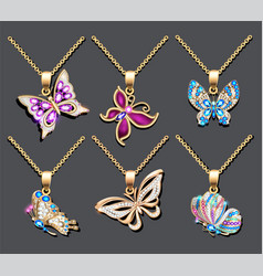 A set butterfly pendants with precious stones vector