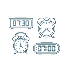 alarm clocks icons thin line style vector image