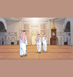 Arab people coming to mosque building muslim vector