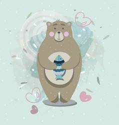 Bear with fish in scandinavian style vector